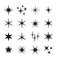 Sparkles Black Template Icons on White Background vector image