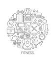 sport fitness food in circle - concept line vector image vector image