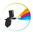spray gun and multicolored paint splatter symbol vector image vector image
