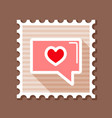 text bubble with heart stamp happy valentines day vector image