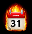 thirty-first january in calendar burning icon on vector image vector image