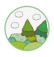 trees rural landscape in round icon vector image vector image