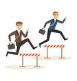two businessmen racing over hurdle obstacles vector image