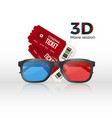 two cinema tickets an 3d plastic glasses with red vector image vector image
