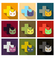 web line icon veterinary medicine icon cat and vector image vector image