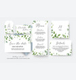 wedding cards collection with greenery leaves vector image vector image