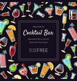 welcome to cocktail bar banner template alcoholic vector image