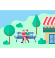 young people hugging on a bench near the house vector image vector image