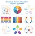 set infographics conceptual cyclic processes five vector image