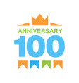 100th anniversary colored logo design happy vector image