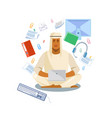 arabian man distance working with laptop vector image