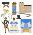 biedermeier style vintage fashion and architecture vector image vector image