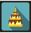 Birthday cake with candle icon flat style vector image vector image