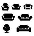 black sofas and couches icons set vector image vector image
