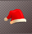 bright red santa claus hat on transparent vector image