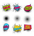 bye set colored comics book balloon vector image vector image