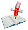cartoon pencil man writing in book vector image