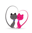 cats in love logo icon vector image vector image