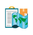 checklist box and map location vector image vector image