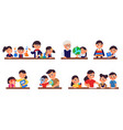 children study with teacher home schooling vector image vector image