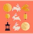 chinese lantern and rabbits vector image vector image