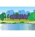 city park clean energy wind turbines solar energy vector image