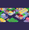 city shops isometric composition vector image vector image