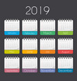 colorful year 2019 calendar template vector image