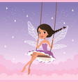 cute fairy on swing magical creature from fairy vector image
