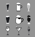 different types beer wine and cocktail glasses vector image vector image