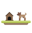 dog standing in front its kennel dog house pet vector image vector image