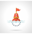 Flat color icon for red buoy vector image