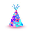 flowery decorated pink party hat icon vector image
