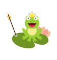 frog and crown with arrow vector image