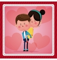 funny couple lovely pink hearts background vector image