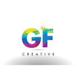 gf g f colorful letter origami triangles design vector image