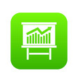 growing chart presentation icon digital green vector image