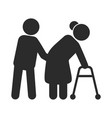 help to disabled people black icon care and vector image