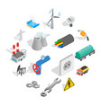 industrial icons set isometric 3d style vector image vector image