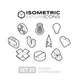 Isometric outline icons set 33 vector image