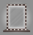 mirror in frame with bulb lights makeup mirror vector image