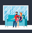 parents couple with daughter waching tv vector image vector image