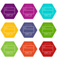 printer icons set 9 vector image vector image