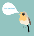robin bird with bubble for text vector image vector image