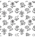seamless pattern with hand drawn flowers on white vector image