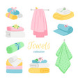 set bath colored towels roll and pile vector image