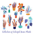 set collection of bright funky house plants vector image vector image