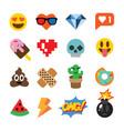 set cute emoticons stickers emoji design vector image