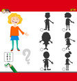 shadows game with cartoon girl characters vector image