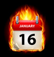 sixteenth january in calendar burning icon on vector image vector image